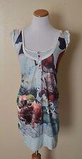 Desigual 21V2859 Striped Floral Tunic Dress size S Small EUC