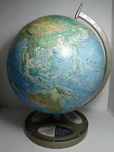 VINTAGE RAND MCNALLY WORLD PORTRAIT RAISED RELIEF TABLE TOP GLOBE-MADE IN USA