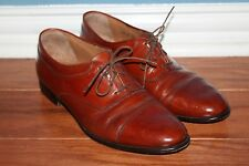 Johnston Murphy Cellini Shoes Mens Size 10 M Brown Leather Cap Toe Oxford Lace