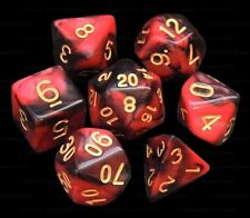 New 7 Piece Black Red Gemini Polyhedral Dice Set – Red Bag – RPG D&D