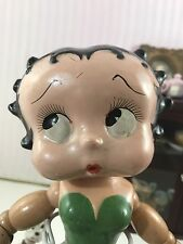 Rare! Antique Wood And Composition Betty Boop Doll In Green Dress 12""