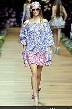 D&G Dolce & Gabbana Flower Print Esquisite Runaway Dress Size I 44 US 8 UK 12 L