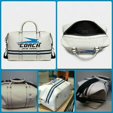 New Coach Voyager New York Chalk Duffle Bag Vintage Coach Motif  F72950