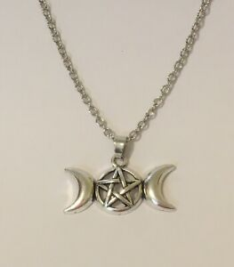 Triple Moon Pendant Necklace Silver Wiccan