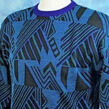 TYROLIA Skiwear Ski Sweater XL Wool Acrylic Teal Purple Black Vtg 80s New Wave