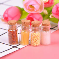 4Pcs 1:12 Dollhouse miniature food glass jar cork bottle kitchen decor FT