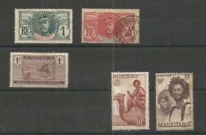 MAURITANIE 5 timbres, Afrique Occidentale Française, divers, 1906 à 1938