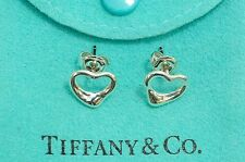 Tiffany & co. 92.5% Silver Open Heart Stud Pierced Earrings by Elsa Peretti