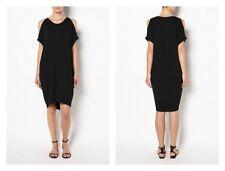 WITCHERY black oversized jersey cold shoulder dress 16 BUY 5 items = Free Post