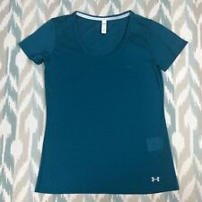 Under Armour HeatGear Threadborne Women Running Short Sleeve Green Shirt Size XS