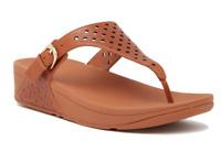 Fitflop Skinny Toe Post Lattice Wedge Women's Caramel Sandal Sz 10 1232