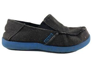 Crocs Santa Cruz Loafers Slip-On Shoes Charcoal Gray Canvas Boys J1 Lightweight