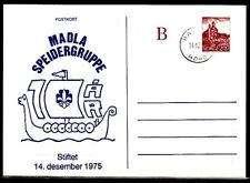 Norway, 1985 cancel. Stiftet Scout Group `75 cachet on Postal Card. First day.