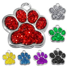 Personalised Pet ID Tags Zinc Alloy Glitter Bling Paw Print Dog ID Tags Surprise