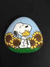 Hand painted river rock art stone painting Snoopy Woodstock sunflowers