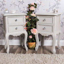 Pair of Bedside Tables Grey Furniture Vintage Chic Bedroom Ornate Bedsides Home