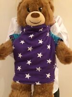 Baby Doll Toy Bear Carrier Perfect For Boys And Girls - Purple With White Stars