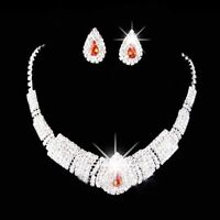 Party Wedding Prom Bridal Crystal Rhinestone Necklace Earring Jewelry Sets