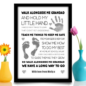 Birthday gift for Grandad Gramps Walk With Me Poem personalised A4 Print