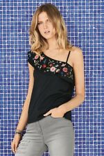 NEW NEXT 16 Ladies Black Floral Embroidered One Shoulder Frill Party Top