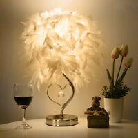 Bedside Reading Sitting Room Heart Shape Feather Crystal Table Lamp Light Stand