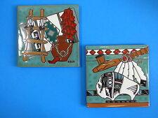 Ceramic Art Tile 6x6 2 pc Set Native American Indian peace pipe rug buffalo I79