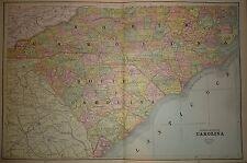 Vintage 1891 North & South Carolina Map Old Antique Original Atlas Map 91/051317