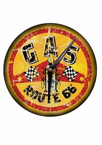 """""""ROUTE 66 GAS"""" HIGH SHEEN FINISH ROUND METAL CLOCK.24"""