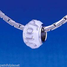 HOPE ON WHITE ENAMEL  Large Hole European Charm Bead  USA Seller CLEARANCE