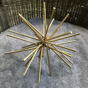 "Gold  Metal Starburst Sea Urchin 3D Spike  Desk Bookcase Decor Contemporary 10"""