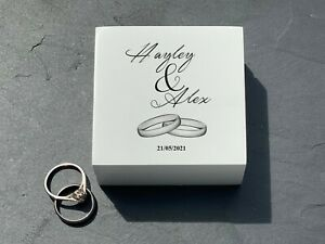 Double Ring Box - Personalised Wedding Day Ring Carrier - Names and Date