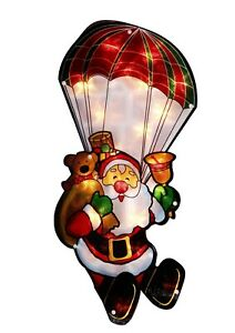 Large Window Santa in Parachute Warm White 20 LED Light up Sign  Xmas Decoration