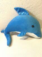 Toy Barn Blue Dolphin Plush Stuffed Animal White