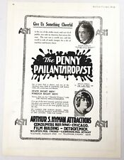 "1919 Magazine Silent Movie Ad ""The Penny Philanthropist"" ASH Arthur S Hyman Prod"