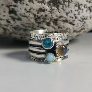 Blue Topaz Spinner Ring 925 Sterling Silver Plated Handmade Ring Size 7.75 at35