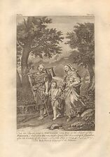 1770  ANTIQUE PRINT -BIBLE- THE HOLY FAMILY GOING UP TO THE PASSOVER