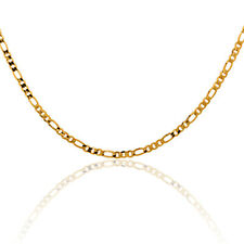 "Children Kids 24K Gold Filled Flat Figaro Link Thin Chain Necklace 14"" Jewelry"