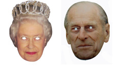 Queen Elizabeth & Prince Phillip Face Masks Birthday Fancy Dress Costume Party