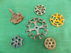 Lot of 6 vintage metal faucet spigot handles knob Steampunk craft art Industrial