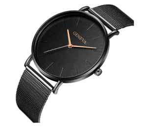 Ultra Luxury GENEVA Mens Womens Ladies Watch Metal Strap Band Steel Wrist Watch