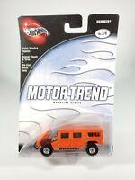 100% HOT WHEELS 2002 MOTOR TREND MAGAZINE SERIES ORANGE HUMMER # 3 of 4 NEW NOC
