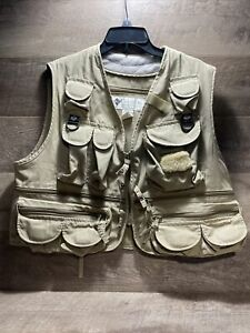 Vintage Columbia PFG Vest Hunting Fly Fishing Tan Size Men's XL Pockets FM1040