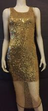 Vintage Gold Sequin Beaded Bodycon Lined Dress Women's Size Small