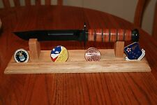 """14"""" Solid Oak Wood Knife Display Stand with Challenge Coin Display"""