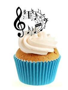Novelty Musical Notes Circle 12 Edible Stand Up wafer paper cake toppers
