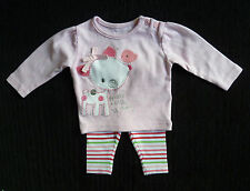 Baby clothes GIRL 0-3m Little Deer appliqued pink top/stripe leggings SEE SHOP!