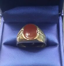 Estate Men / Boys10k Solid Gold Carnelian / Agate Diamond Ring Sz.11 W.5.4 grams