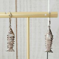 Vintage Articulated Moving Fish Charm 925 Sterling Silver Hook Earrings