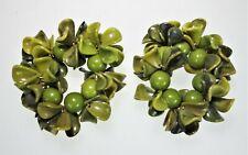 2 Green Vtg 60s 70s Groovy Swinger Bracelets Napkin Rings Holders Plastic Beads