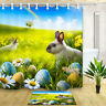 Easter Egg Bunny Flower Waterproof Fabric Bath Shower Curtain & 12 Hooks 71*71""